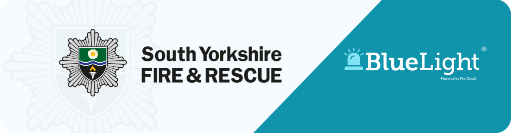 south yorkshire fire and rescue logo with Pro-Cloud bluelight logo