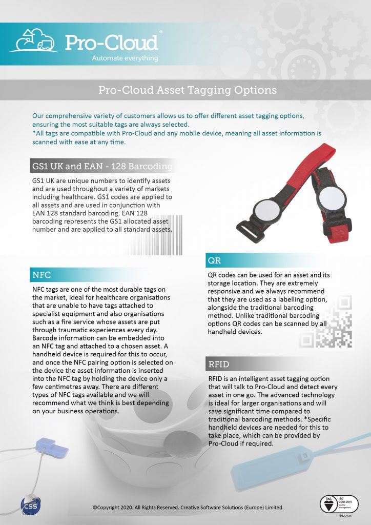 Pro-Cloud labelling options flyer
