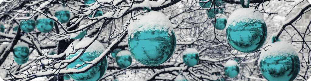 christmas baubles covered in snow hanging from a tree