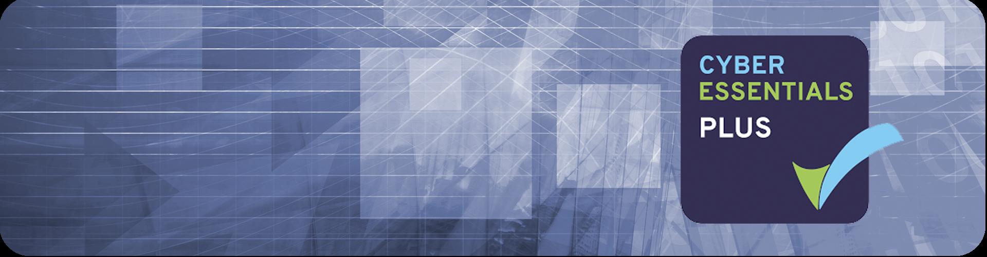 cyber essentials plus logo on a geometric background