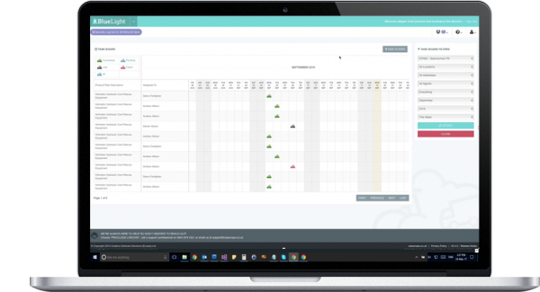 taskboard screenshot on laptop