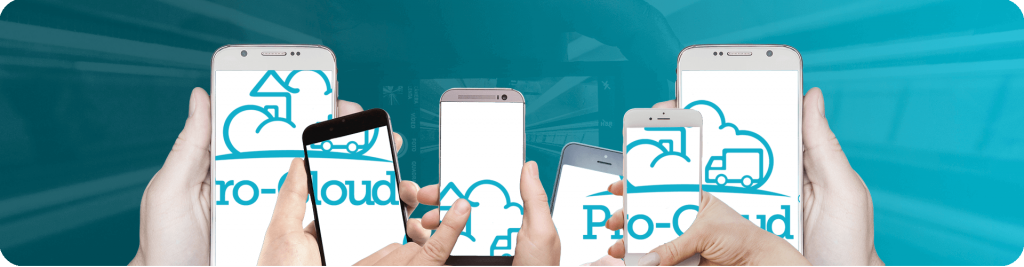 pro-cloud logo across multiple mobile screens being held up in hands