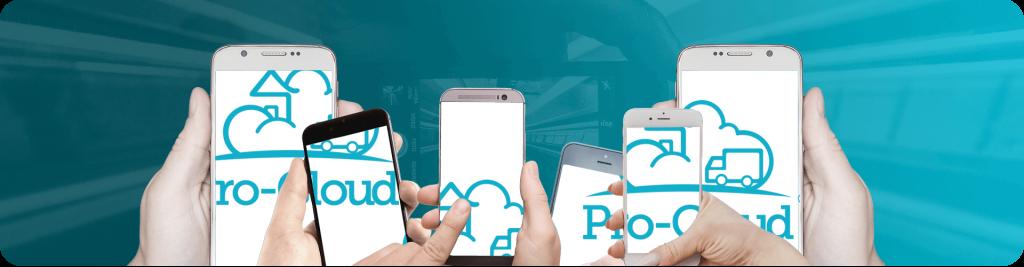 pro-cloud logo across multiple mobile screens being held up in hands