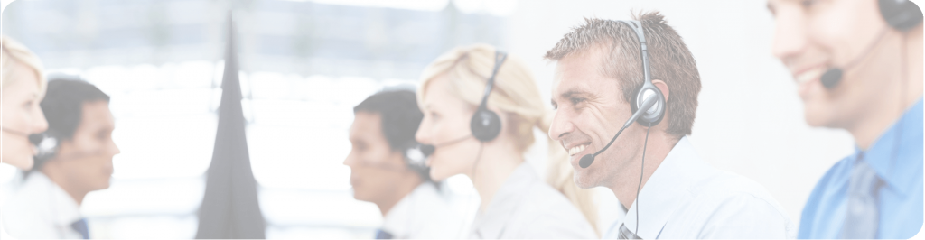 contact centre staff with headset smiling