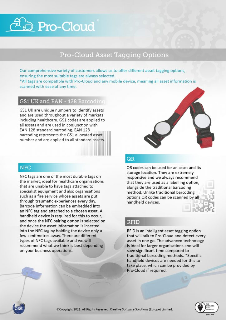 Pro-Cloud asset tagging options flyer
