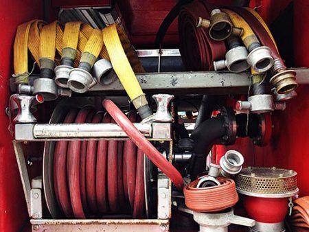 fire hoses on fire appliance